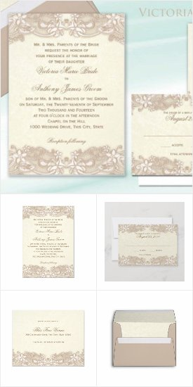 Victorian Lace Design Rustic Wedding Invitations Announcements