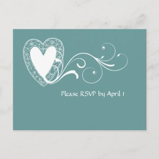 Victorian Lace Heart RSVP postcard