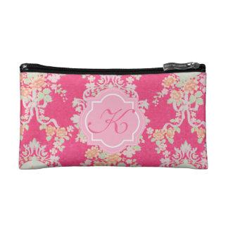 Victorian Lace pink monogram brocade cosmetic bag