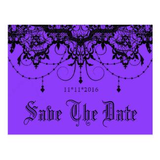 Victorian Lace Purple Save The Date Postcard