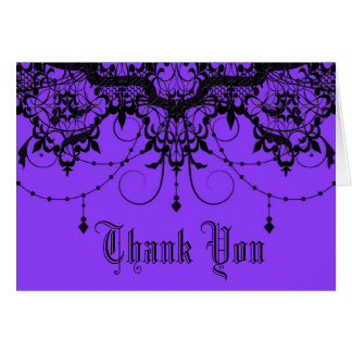 Victorian Lace Purple Thank You Card