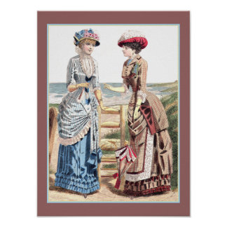 Victorian Ladies at the Beach Old Fashion Print