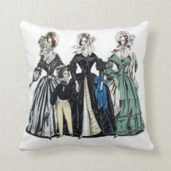 Victorian Ladies Fashion Throw Pillow