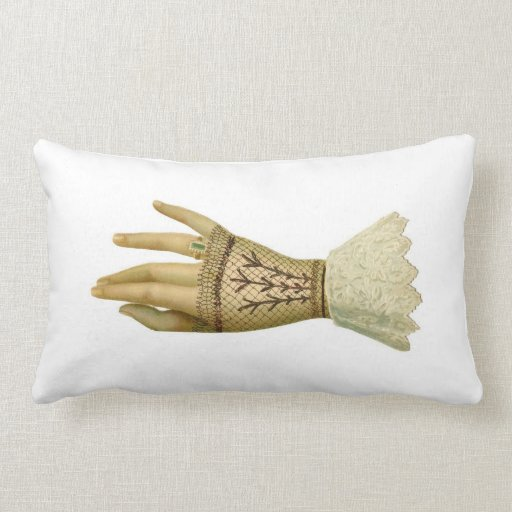 Victorian Ladies Lace Glove Emerald Ring Pillow