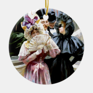 Victorian Ladies Men Mask Party painting Ceramic Ornament