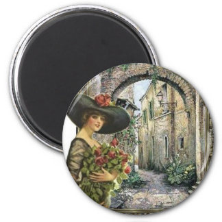 Victorian lady abroad 2 inch round magnet