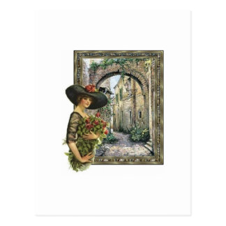 Victorian lady abroad postcard