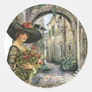 Victorian lady abroad classic round sticker