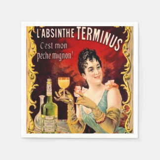 Victorian Lady Absinthe Ad Cocktail Party Barware Disposable Napkins