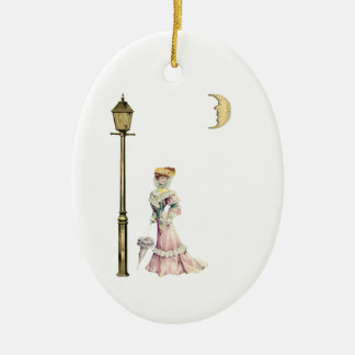 Victorian Lady and Lamp Ceramic Ornament