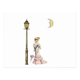 Victorian Lady and Lamp Postcard
