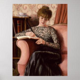 Victorian Lady Art Black Lace Elegant Decor Poster