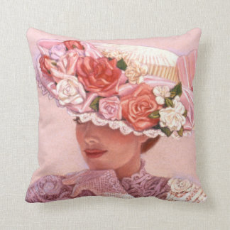 Victorian Lady Art Pillow floral vintage rose hat