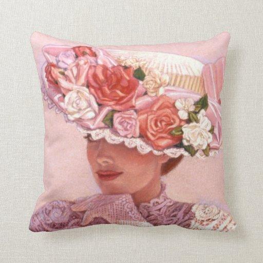 Victorian Lady Art Pillow floral vintage rose hat