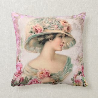 Victorian Lady Big Hat Roses Pinks Throw Pillow