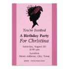 Victorian Lady Black Silhouette Fancy Hat Birthday Card