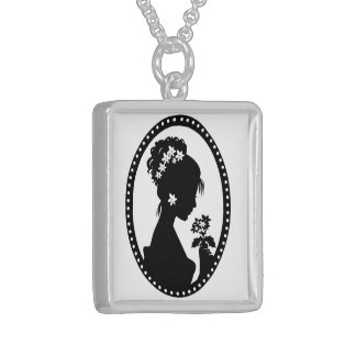 Victorian Lady Cameo Silhouette Sterling Silver Necklace