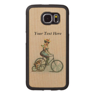 Victorian Lady Fancy Dress on Bicycle With Dog Wood Phone Case