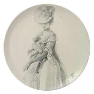 Victorian Lady Fashion Dinner Plates