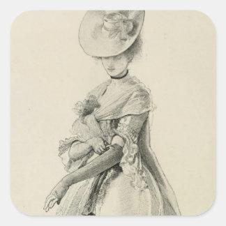 Victorian Lady Fashion Square Sticker