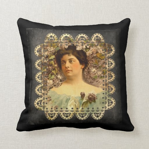 Victorian Lady Pillows : Victorian Lady Flowers and Lace Throw Pillow Zazzle