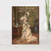 Victorian Lady Happy Birthday Mom Greeting Card