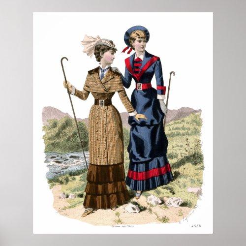 Hiking in the Golden Olden Days!  Elegant Victorians in Long Dresses – Vintage Poster