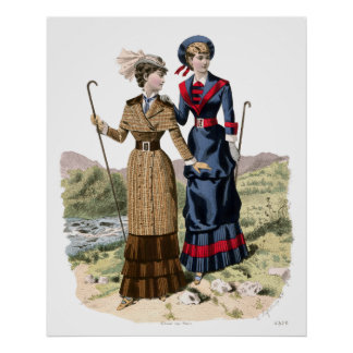 Victorian Lady Hikers - Old Fashioned Trekking! Poster