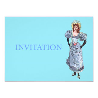Victorian Lady in Blue Dress - Victorian Birthday Card