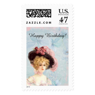 Victorian Lady in Feathered Hat, $0.47 Postage
