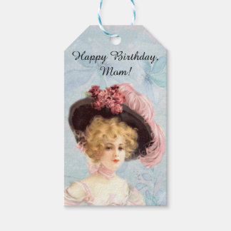 Victorian Lady in Feathered Hat Gift Tag