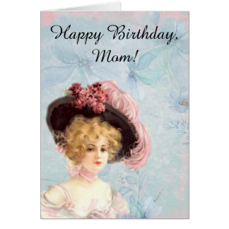 Victorian Lady in Feathered Hat Greeting Card