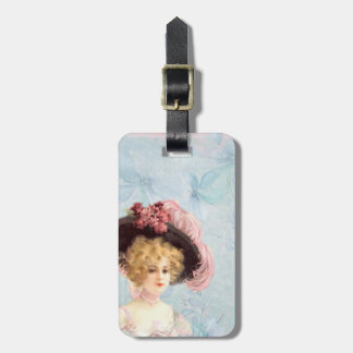 Victorian Lady in Feathered Hat Luggage Tag