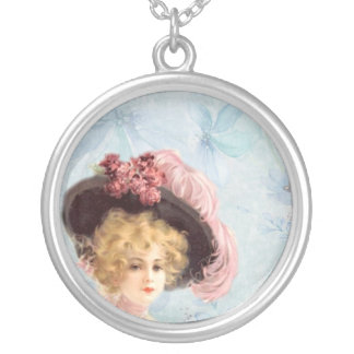 Victorian Lady in Feathered Hat Necklace
