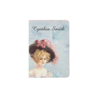 Victorian Lady in Feathered Hat Passport Holder
