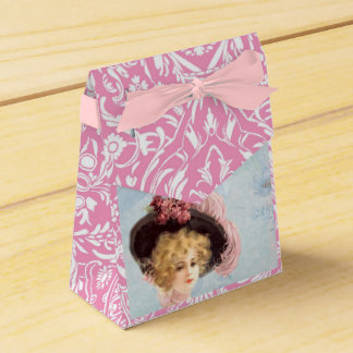 Victorian Lady in Feathered Hat Pink Tent Favor Box