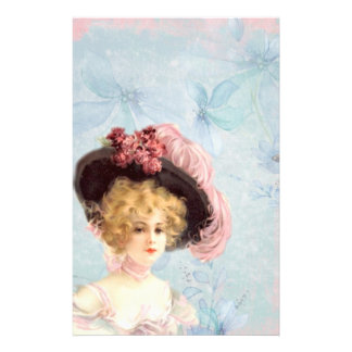 Victorian Lady in Feathered Hat Stationery