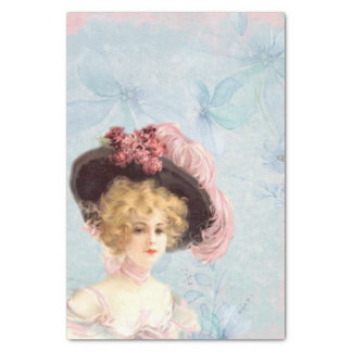 Victorian Lady in Feathered Hat Tissue Paper