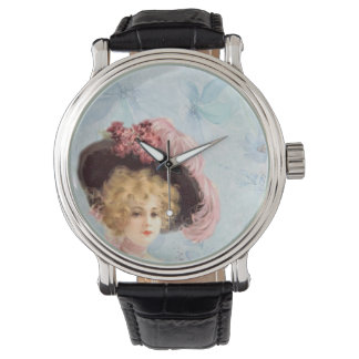 Victorian Lady in Feathered Hat Vintage Leather Wristwatch