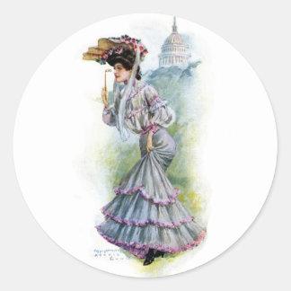 Victorian Lady in Lavender Dress Classic Round Sticker