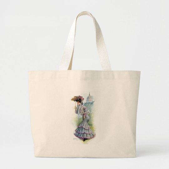 Victorian Lady in Lavender Dress Large Tote Bag