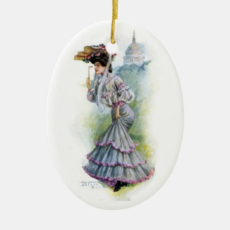 Victorian Lady in Lavender Dress Christmas Tree Ornaments