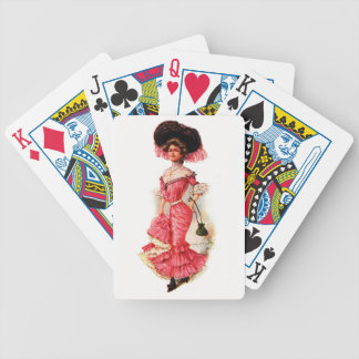 Victorian Lady in Pink Dress Bicycle Playing Cards