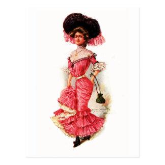 Victorian Lady in Pink Dress Postcard