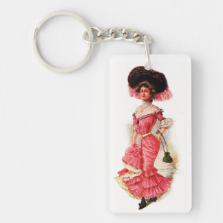 Victorian Lady in Pink Dress Single-Sided Rectangular Acrylic Keychain
