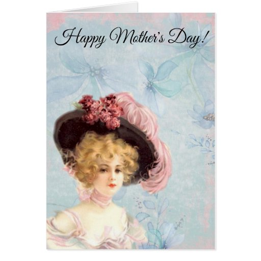 Victorian Lady in Pink Feathered Hat Card