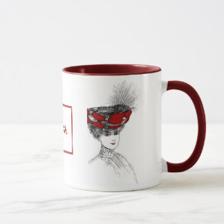 Victorian Lady In Red Hat Mug