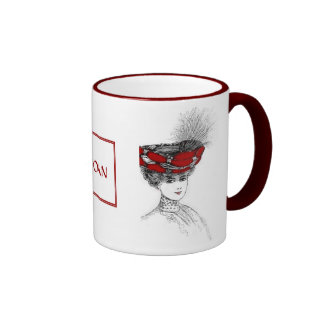 Victorian Lady In Red Hat Coffee Mugs