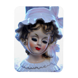 Victorian Lady in Ruffled Bonnet Head Vase Girly! Magnet