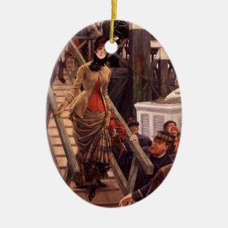 Victorian Lady Leave the Ship Ceramic Ornament